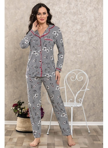 Lingabooms Çiçekli Çizgili Gömlek Pijama Takım Lacivert